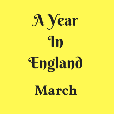 A Year In England - March black text on yellow background