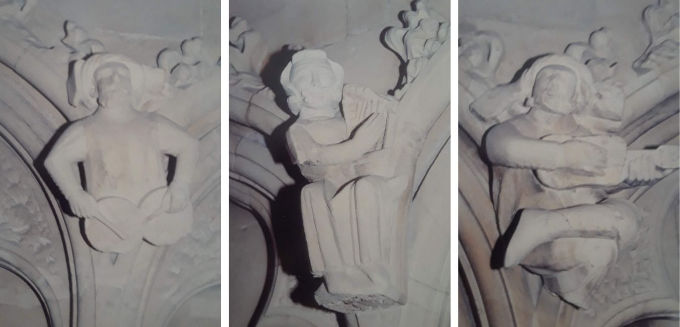 Three carvings of medieval minstrels in Beverley Minster playing nakers, harp, and guitar.