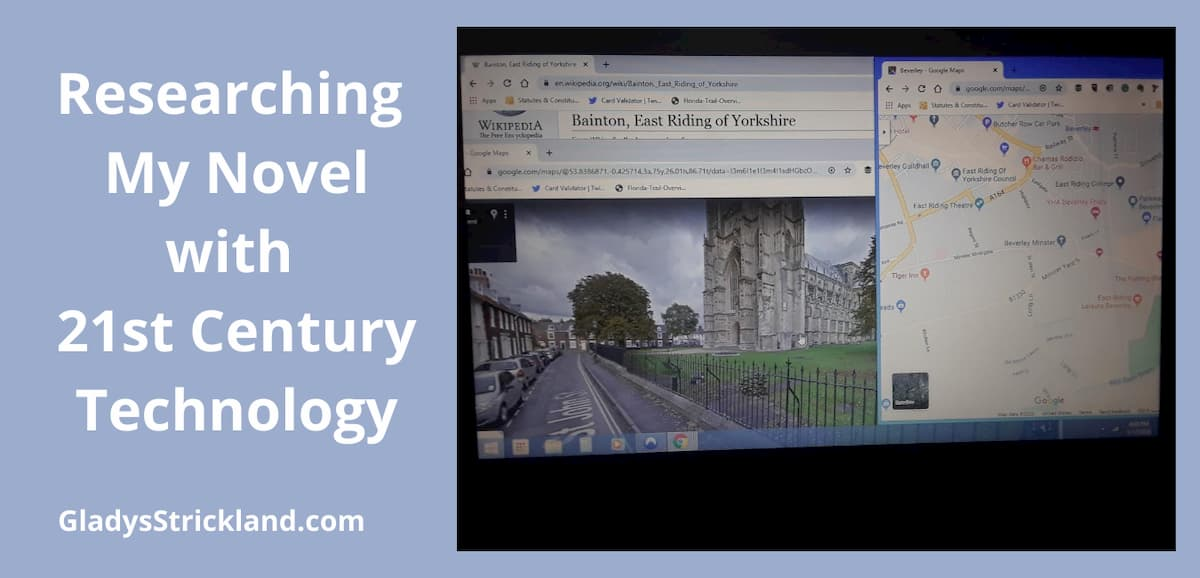 Researching my novel with 21st century technology with images of a map, a Wikipedia entry and the west end of Beverley Minster on computer screen.